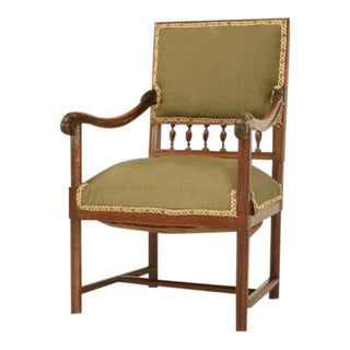 Antique French Henri II Carved & Figured Walnut Fauteuil For Sale