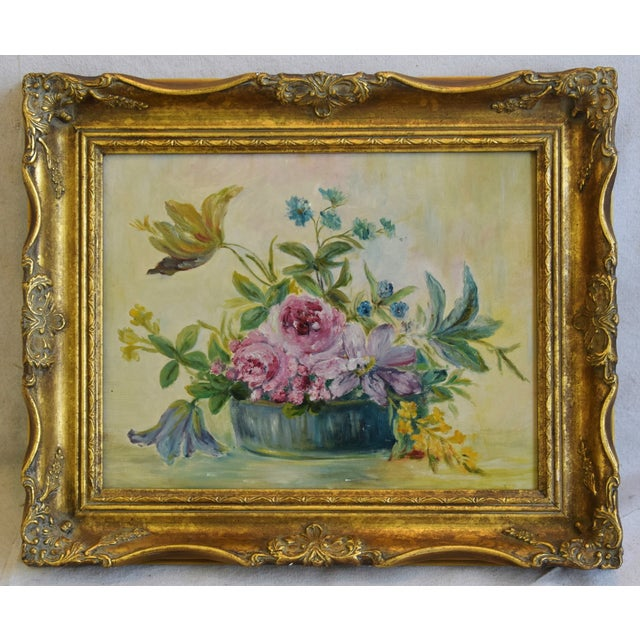 Early 1900s Colorful Floral Tablescape Still Life Oil Painting For Sale - Image 9 of 9