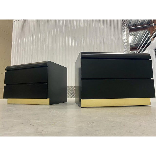 Black Restored Black Lacquered & Brass Side Tables - a Pair For Sale - Image 8 of 8