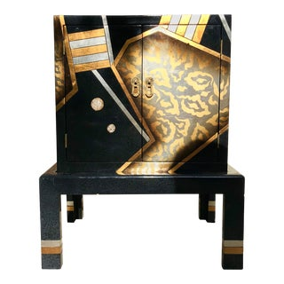 Vintage Hand-Painted Black and Gold Cabinet For Sale