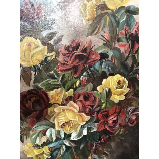 Late 19th Century Victorian Circa 1880 Summer Fireplace Screen With Floral Painting and Velvet Screen For Sale - Image 5 of 13