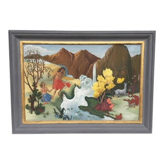 """""""Nudes & Deer at Riverbank"""" Gouache Painting, Artist Unknown For Sale"""