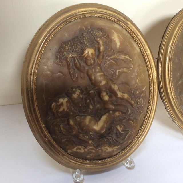 Antique Wax Cherub Reliefs - A Pair - Image 4 of 9