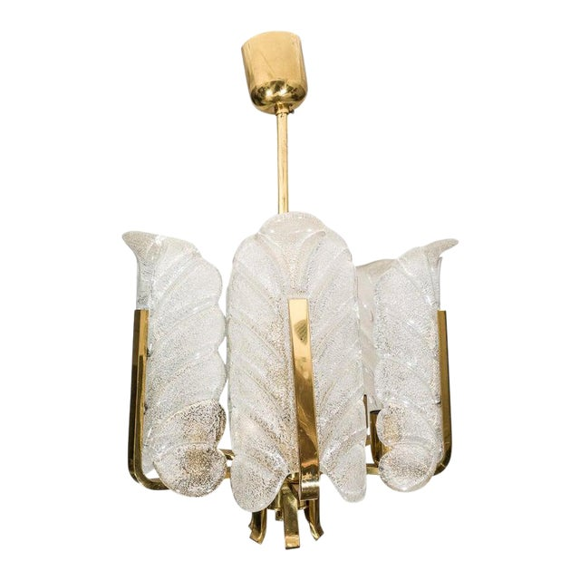 Orrefors Chandelier in Brass and Glass Designed by Carl Fagerlund For Sale