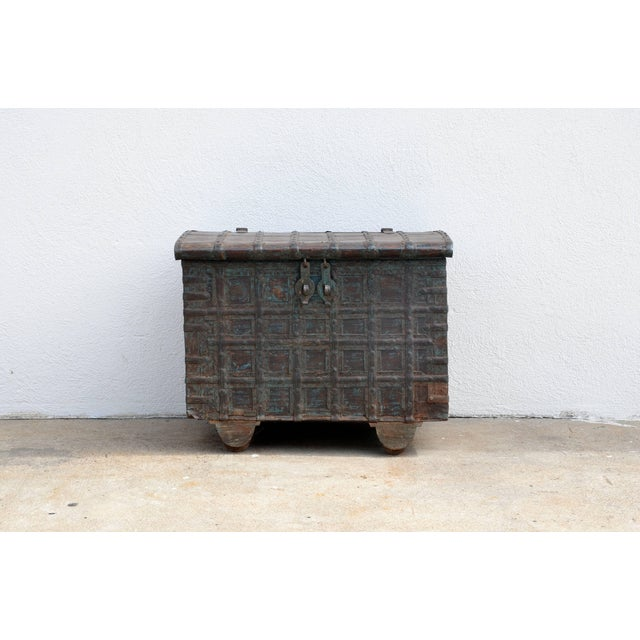 Gold Mid Century Weathered Bronze Clad Wood Trunk For Sale - Image 8 of 8