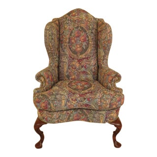 Queen Anne High Back Upholstered Wing Chair