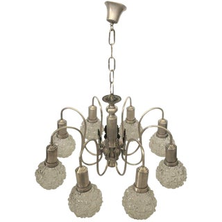 Art Deco Spider Ceiling Lamp With Eight Cut Glass Balls For Sale