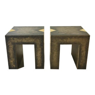Pair of Square Bronze Collection Side Tables For Sale