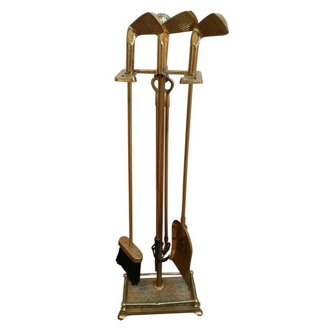 Brass Golf Motif Fireplace Tool Set - Image 1 of 7