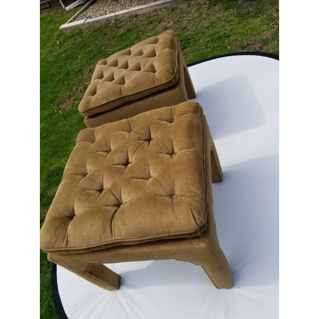 Fabric Milo Baughman Style Parson Ottomans - a Pair For Sale - Image 7 of 9
