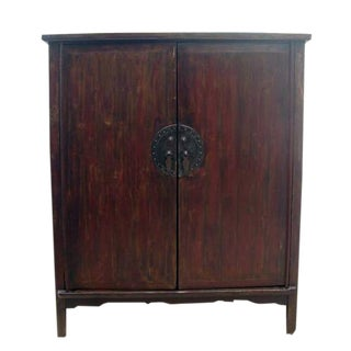 Rustic Provincial Elm Wood Cabinet For Sale