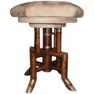 19th Century Antique French Bamboo Swivel Stool For Sale