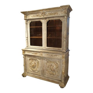 Antique Whitewashed Hunt Buffet or Bookcase from France, Late 19th Century