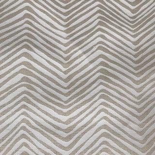 Quadrille Petit Zig Zag White Linen Fabric
