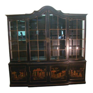 Oriental Style Large Paint Decorated China Cabinet For Sale