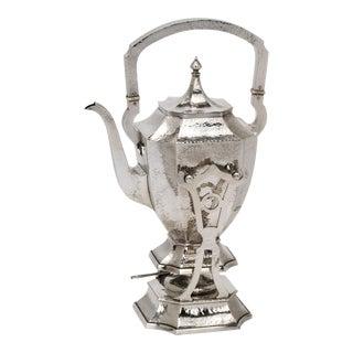 Hand Hammered Sterling Silver Tea Kettle For Sale