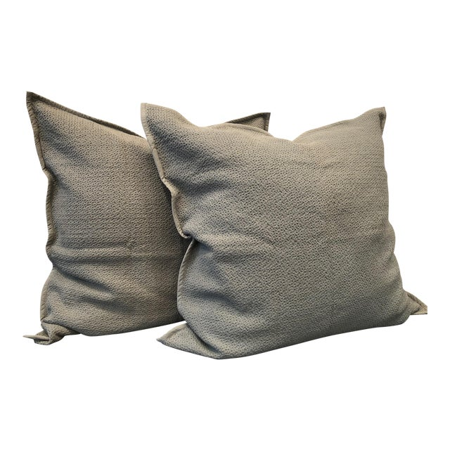 Mid Grey Honeycomb Euro Shams - Set of 2 For Sale