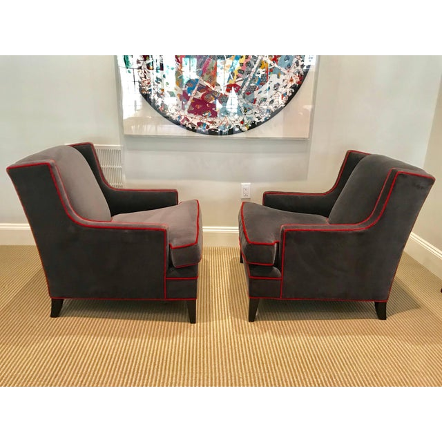 This comfortable pair of Mitchell Gold & Bob Williams Lolling chairs are covered in grey cotton velvet with a contrasting...