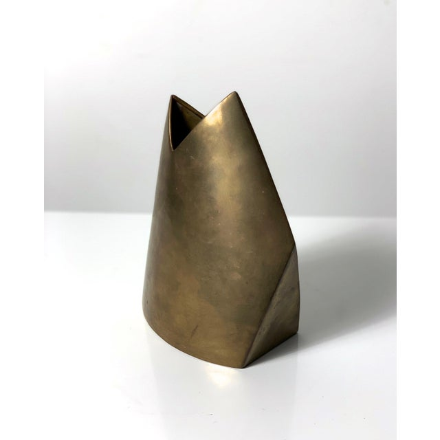 Mediterranean Vintage Modernist Brass Vase by James Johnston, Circa 1970's For Sale - Image 3 of 10
