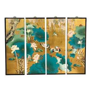 Mid-Century Gold and Green Chinoiserie Panels For Sale