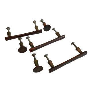 Vintage Rosewood Cabinet Pulls and Knobs Mid Century - Set of 6 For Sale