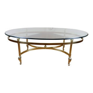 Vintage Labarge Style Brass and Glass Coffee Table For Sale