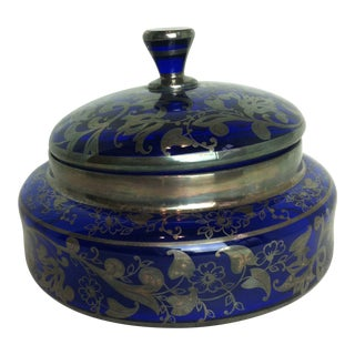 Vintage Cobalt Blue Glass Bowl and Lid With Silver Overlay For Sale