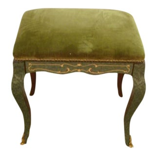 Italian Made Inlaid Vanity Bench For Sale