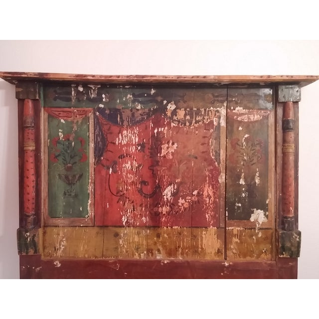 Antique Primitive Painted Red Headboard - Image 3 of 10