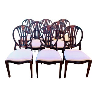 Jonathan Charles Hepplewhite Wheatsheaf Solid Wood Dining Chairs - Set of 8 For Sale