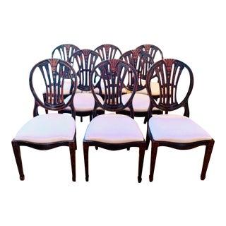 Jonathan Charles Hepplewhite Wheatsheaf Solid Wood Dining Chairs - Set of 8 For Sale