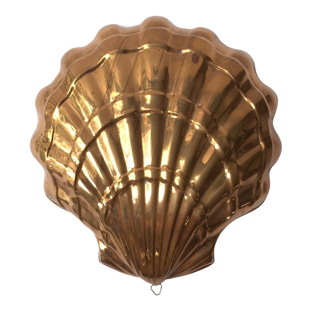 Large Vintage Italian Copper Seashell Mold With Hanging Loop For Sale