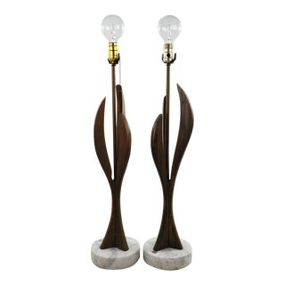 Mid-Century Modern Sculpture Table Lamps - A Pair For Sale