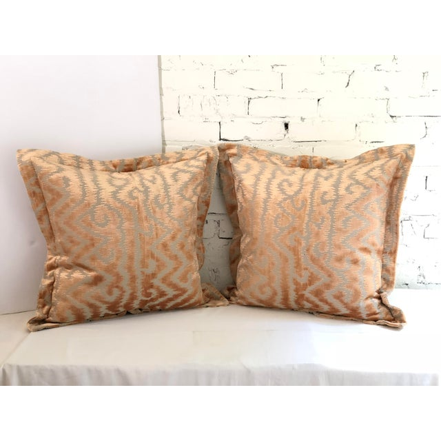 """24"""" Taupe and Blush Cut Velvet Pillows by Jim Thompson - a Pair For Sale - Image 10 of 10"""