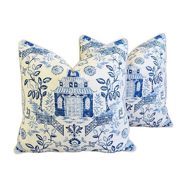 "Custom Blue & White Chinoiserie Feather/Down Pillows 26"" Square - Pair For Sale - Image 12 of 13"