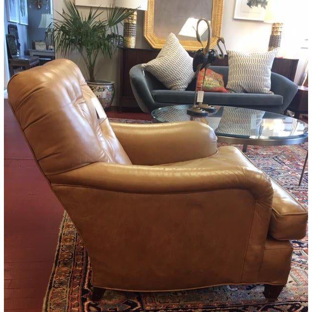 1960s 1960s Vintage Beige Tufted Back Leather Chairs- a Pair For Sale - Image 5 of 7