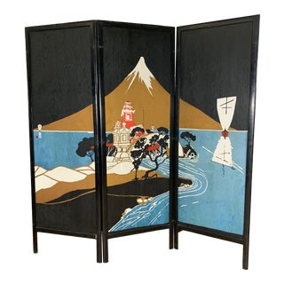 1930s 3-Panel Wood Screen, Painted Japanese Scene For Sale