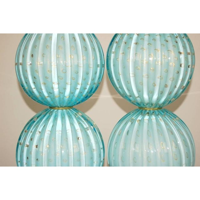 Murano Murano Glass Stacked Ball Table Lamps Blue For Sale - Image 4 of 10