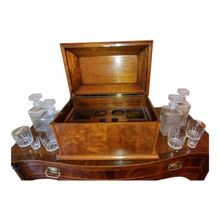 Wiltshire of Winchester Mahogany Liquor Chest With Cut Glassware - 12 Piece Set For Sale