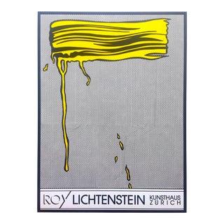 """Roy Lichtenstein Rare Vintage 1990 Iconic Silkscreen Print Large Framed Pop Art Poster """" Yellow Brushstroke I """" 1965 For Sale"""