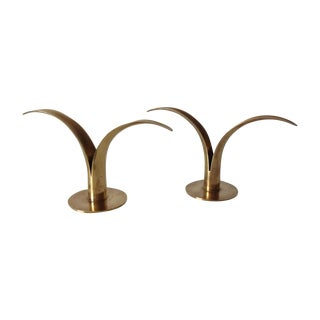 Ystad Swedish Brass Candleholders - Pair For Sale