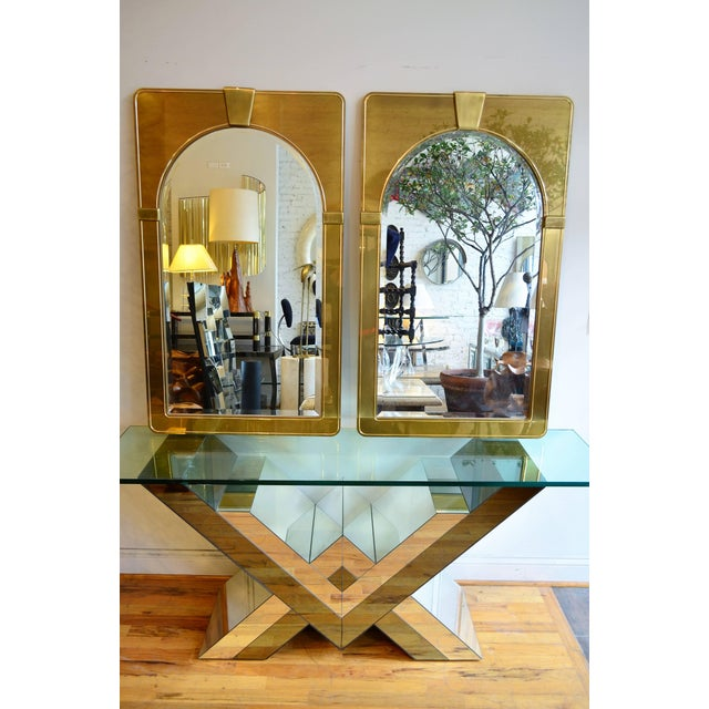 Mid-Century Modern Mastercraft Pair of Brass Mirrors For Sale - Image 3 of 7
