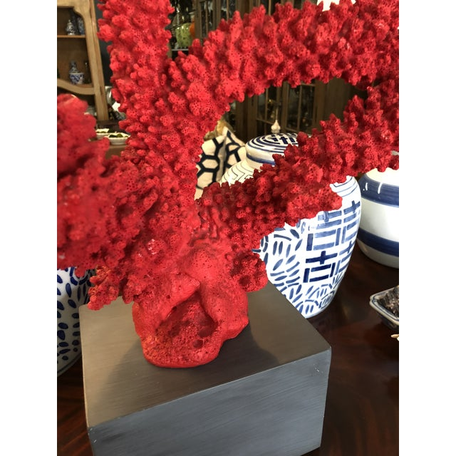 Stunning overside faux red coral made of resin over a wood charcoal painted base.
