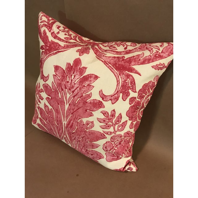 """2010s Rococo Pillow From Scalamandre Linen Print """"Luciana Damask"""" in Raspberry For Sale - Image 5 of 6"""