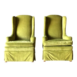 Vintage Velvet Wingback Chairs