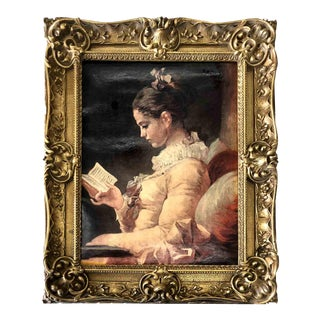 Framed Period Lithograph of a Young Girl Reading by Jean-Honoré Fragonard For Sale