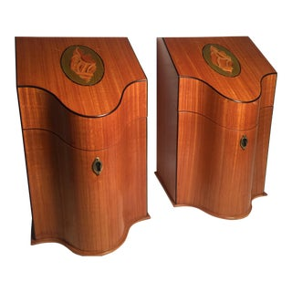 1900s Federal Southampton Satin Wood Knife Boxes - a Pair For Sale