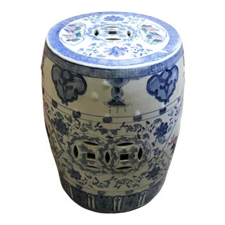 1970s Chinese Blue, White and Rose Porcelain Stool For Sale
