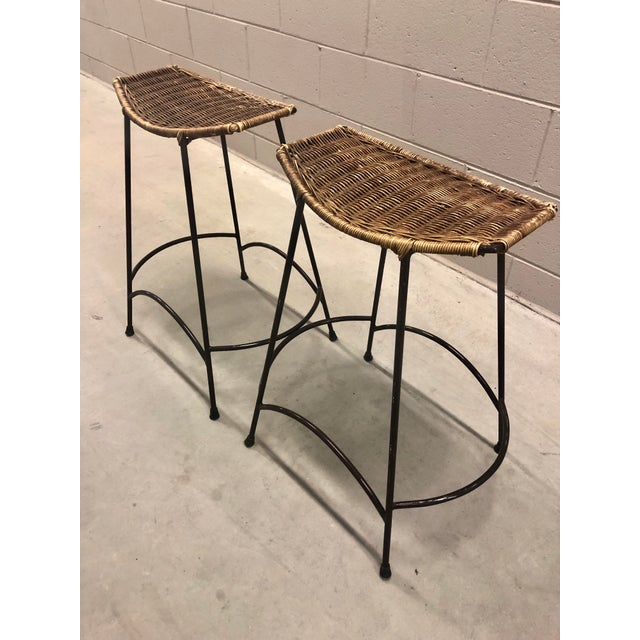 Boho Chic 1970's Arthur Umanoff Wrought Iron & Wicker Stools - a Pair For Sale - Image 3 of 11