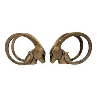 Dara International Mid-Century Modern Brass Ram Bookends - a Pair For Sale